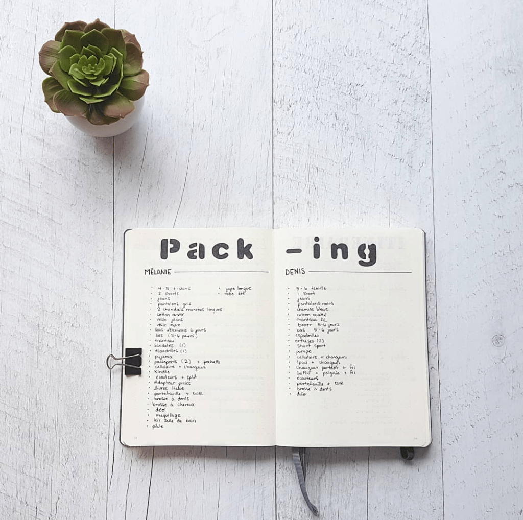 packing list checklist luggage