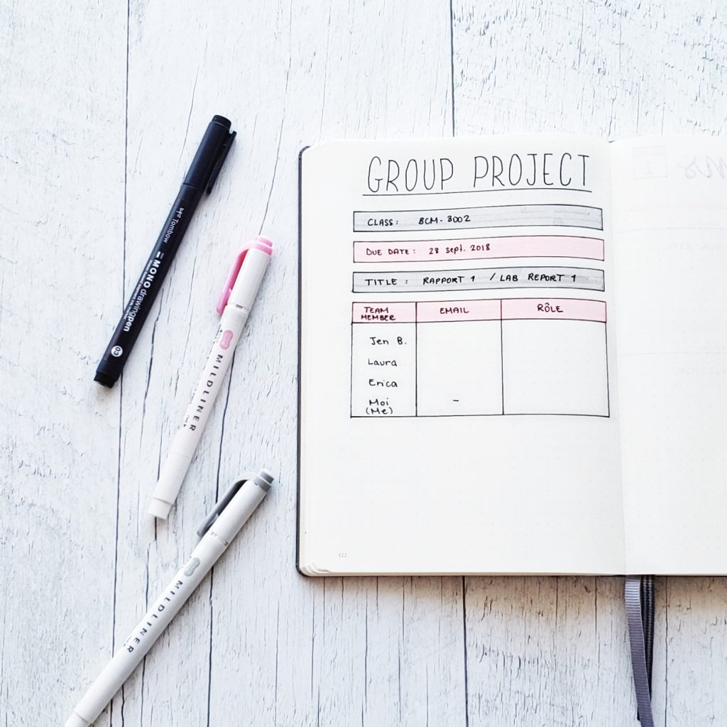 group projects student bullet journal