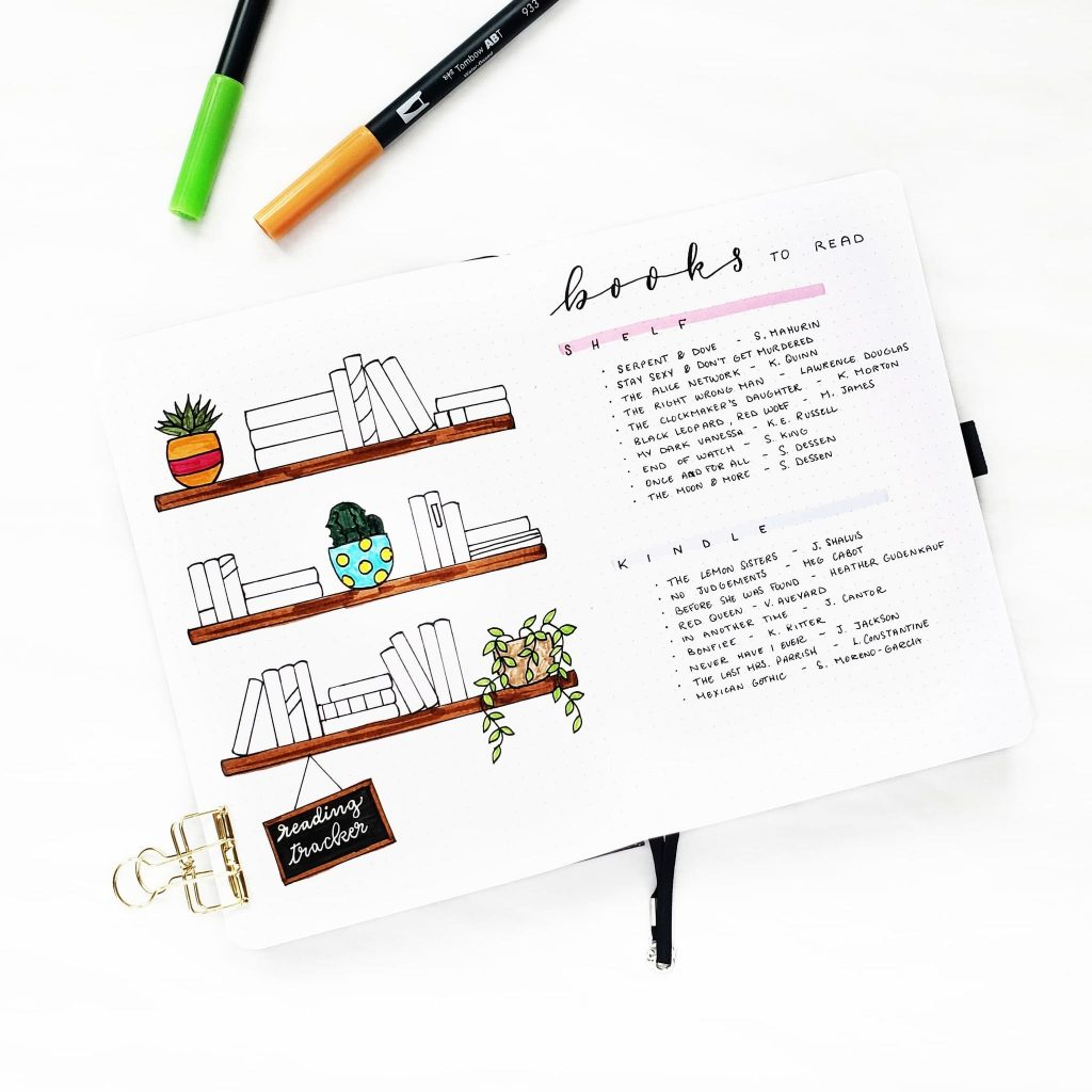 A Bullet Journal with a reading tracker and a list of books to read.
