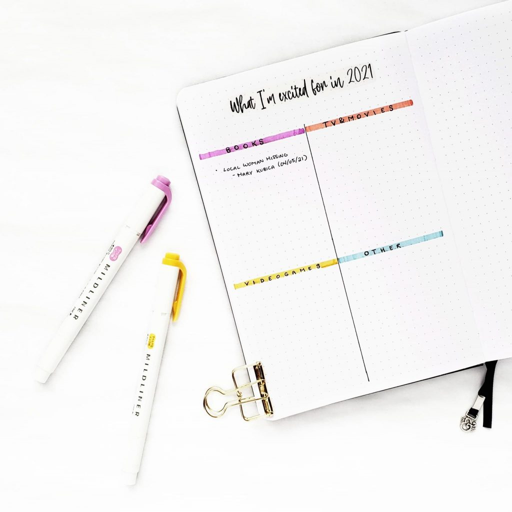 A Bullet Journal with the title What I'm excited for in 2021 and 4 categories